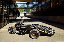 Student team with electric racing car in unofficial World Championship at Hockenheim