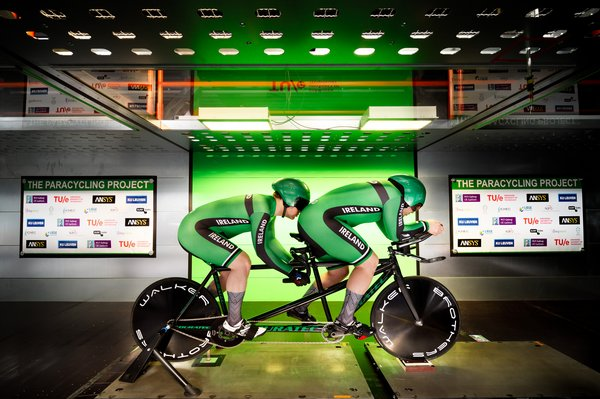 Irish top athletes Martin Gordon and Eamonn Byrne in the wind tunnel. They won silver in the tandem sprint in the London 2018 World Cup. Photo: Bart van Overbeeke