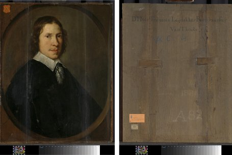 Bernardus Swaerdecroon, 1646. Damage is visible in the vertical direction, where the three wooden panels are attached to one another. (Rijksmuseum inv. no. SK-A-828).
