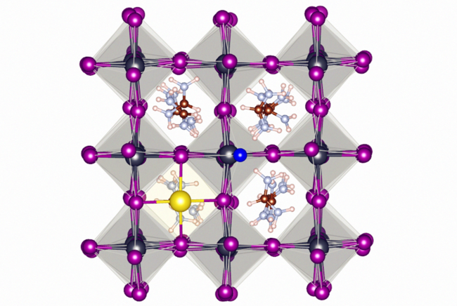 The atomic structure of fluoride (NaF) containing metal halide perovskite (FAPbI3). Due to its high eletronegativity, fluoride stabilizes the perovskite lattice by forming strong hydrogen bonds and ionic bonds on the surface of the material.
