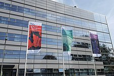 SFD cheering up our department building with banners showing LSCs and polymers making waves.