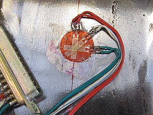 Example of a Rosette (3-direction) Strain Gauge.